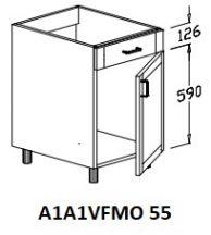 Alsó 1 ajtós 1 vakfiókos mosogatós 55 cm elem!