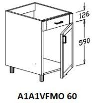 Alsó 1 ajtós 1 vakfiókos mosogatós 60 cm elem!
